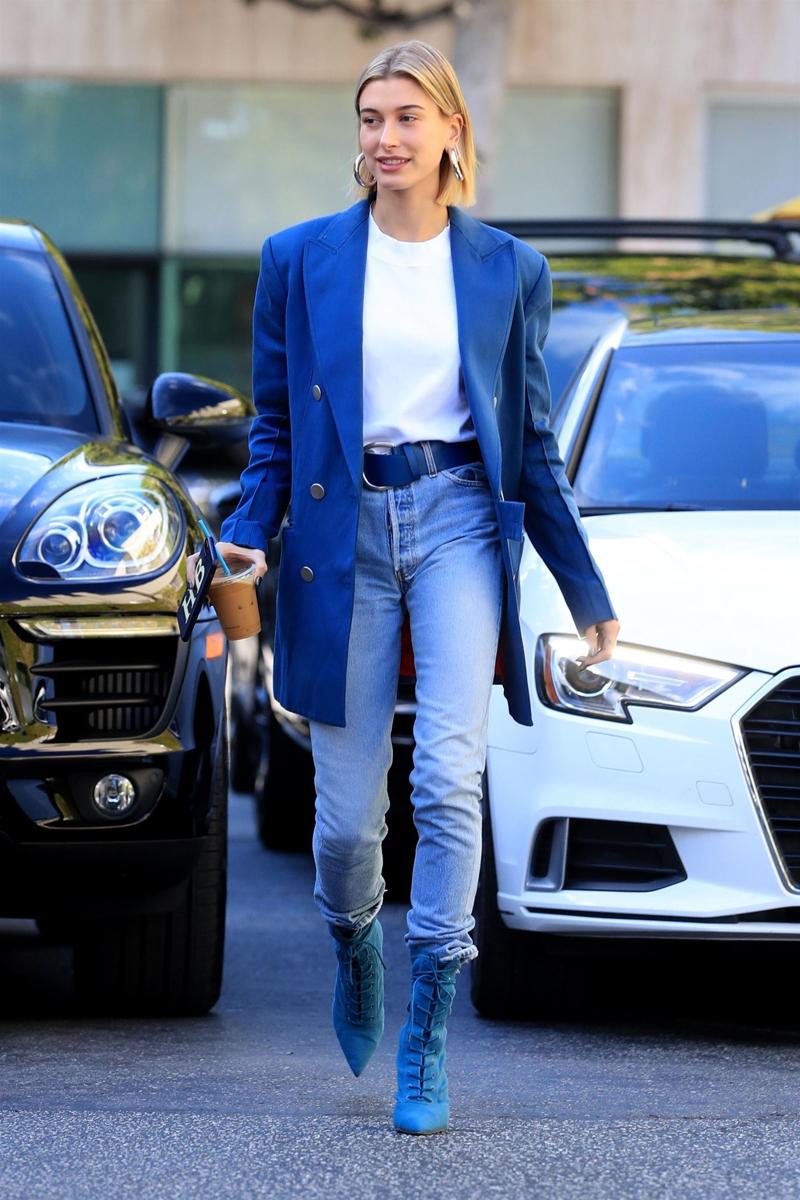Hailey Baldwin Blue Outfit