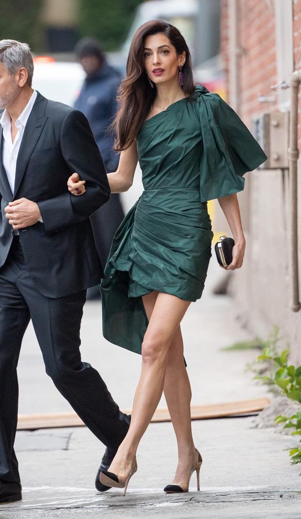 George Clooney and Amal Clooney'Jimmy Kimmel Live' TV Show, Los Angeles, USA - 07 May 2019 Amal Wearing Oscar De La Renta