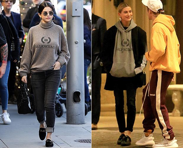 Selena Gomez Hailey Baldwin Balenciaga sweater