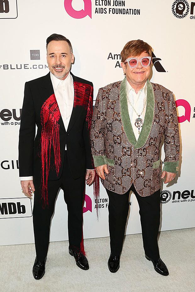 Sir Elton John & husband David Furnish Oscars Viewing Party 2019