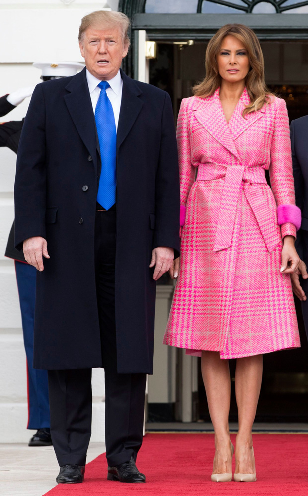 US President Donald J. Trump (L) and US First Lady Melania Trump (2-L) welcome the President of Colombia Ivan Duque (2-R) and his wife Maria Juliana Ruiz Sandoval (R) at the South Portico of the White House in Washington, DC, USA, 13 February 2019. President Trump and President Duque are meeting to discuss economic policies, combatting narcotics and the current situation in Venezuela.US President Donald J. Trump hosts the President of Colombia Ivan Duque, Washington, USA - 13 Feb 2019