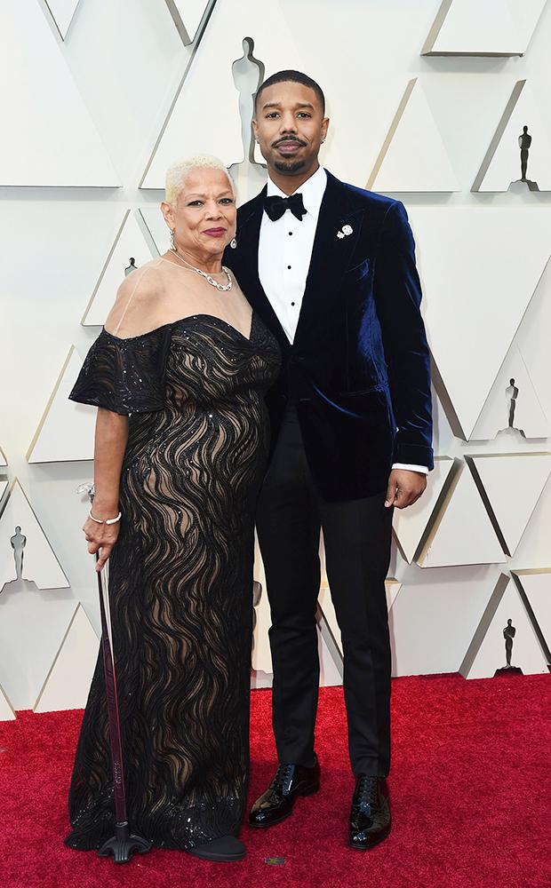 Michael B. Jordan & Mother Donna Jordan Oscars 2019