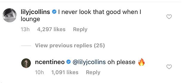 Noah Centineo Lily Collins comment