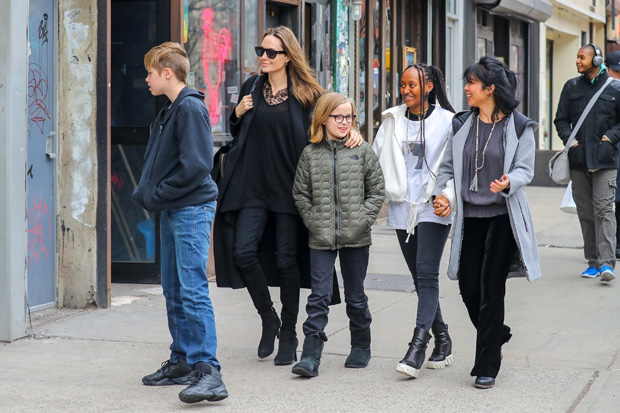 Angelina Jolie was spotted out and about in New York City with Vivienne, Shiloh and Zahara on Feb. 23.