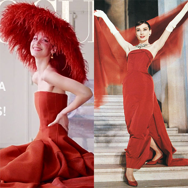 Bella Hadid Red Dress Vogue Cover Audrey Hepburn
