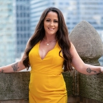 Jenelle Evans visits HollywoodLife's New York headquarters during Fashion Week to discuss her new beauty brand, JE Cosmetics and brow kit.