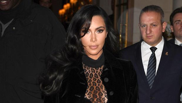 Kim Kardashian sheer animal print bodysuit