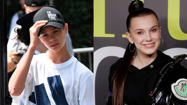 Romeo Beckham and Millie Bobbie Brown