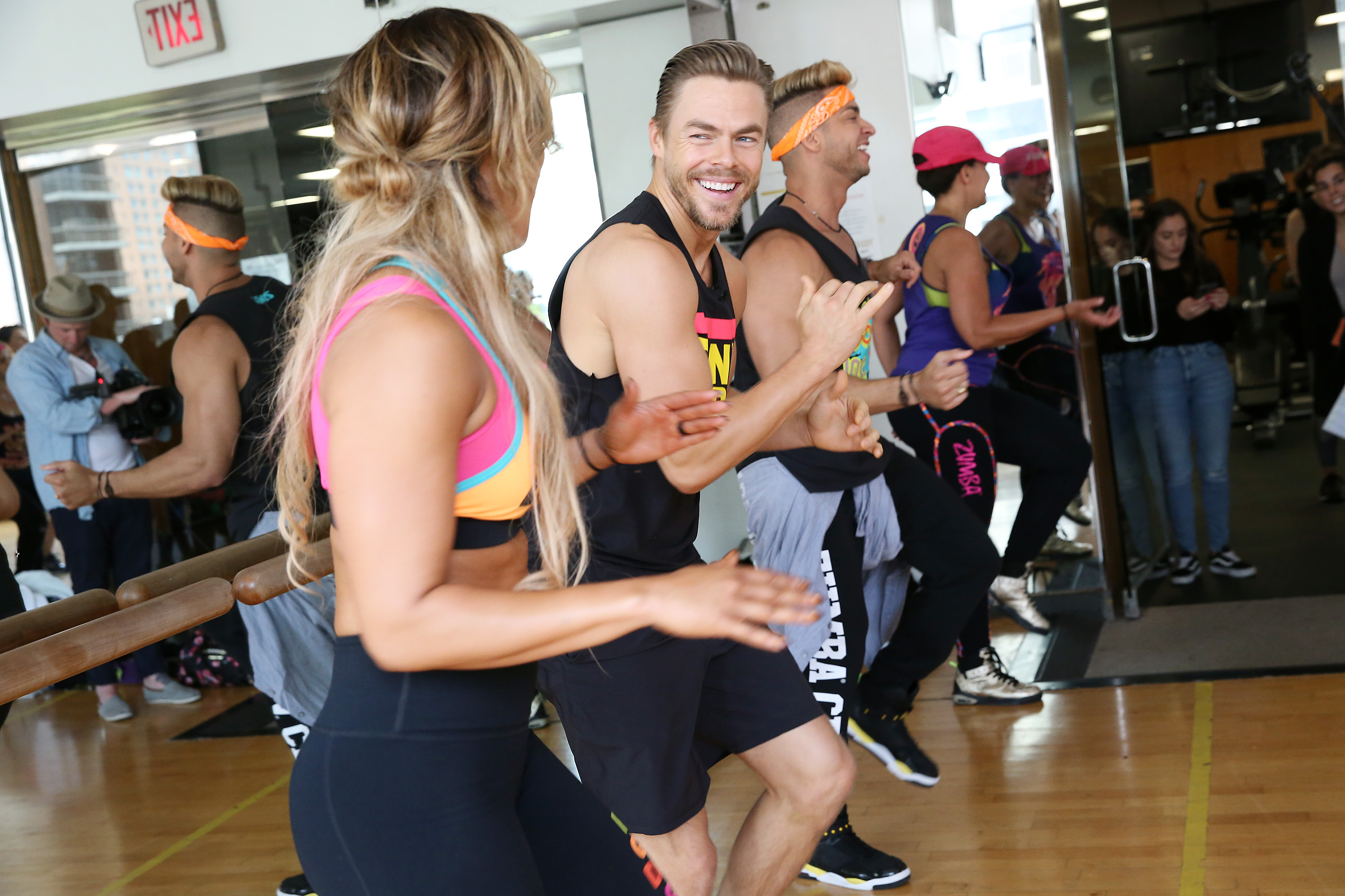 NEW YORK, NEW YORK - APRIL 25: Emmy Award-winning choreographer, dancer and NBCs World of Dance judge Derek Hough crashes a Zumba class at Complete Body in Midtown. Derek has teamed up with the worlds largest dance-fitness company to launch the Zumba Breaks initiative, motivating millions take 10-15 minutes out of their day to get up and move, on April 25, 2019 in New York City. (Photo by Monica Schipper/Getty Images for Zumba Fitness)