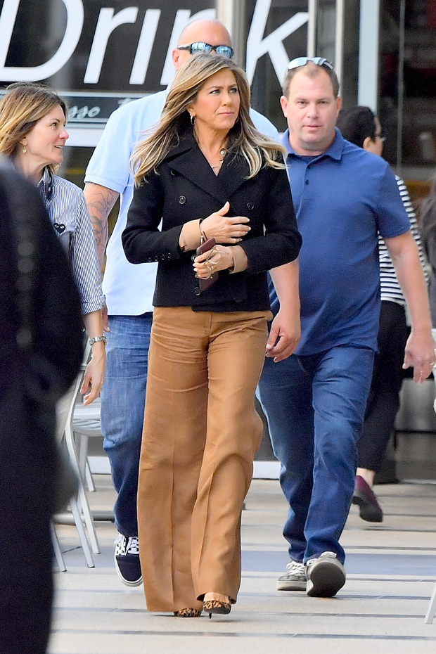 EXCLUSIVE: Jennifer Aniston heads out to lunch with a friend. Jennifer was seen leaving a coffee bean and tea leaf with a friend, she was also accompanied by her bodyguard. The actress was seen spending about 40 minutes hanging out in the coffee shop before heading out. 03 Apr 2019 Pictured: Jennifer Aniston. Photo credit: Marksman / MEGA TheMegaAgency.com +1 888 505 6342 (Mega Agency TagID: MEGA393769_002.jpg) [Photo via Mega Agency]