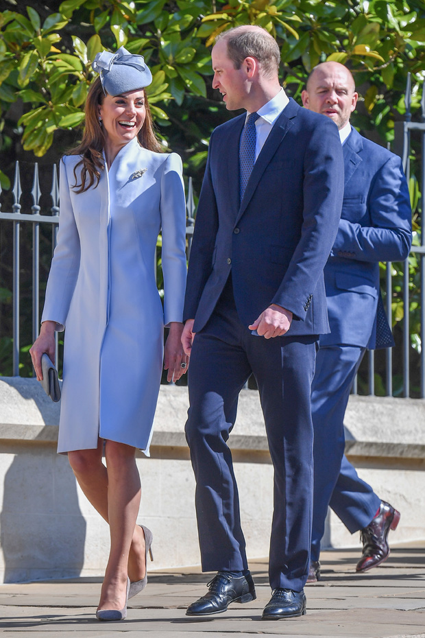 Catherine Duchess of Cambridge, Prince WilliamEaster Sunday service, St George's Chapel, Windsor, UK - 21 Apr 2019 Wearing Alexander McQueen Hat By Jane Taylor Shoes By Emmy London Worn Before (*3706450)