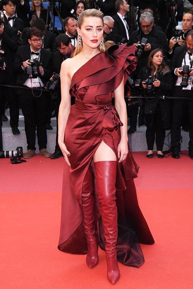 Amber Heard Plunging Red Slit Dress