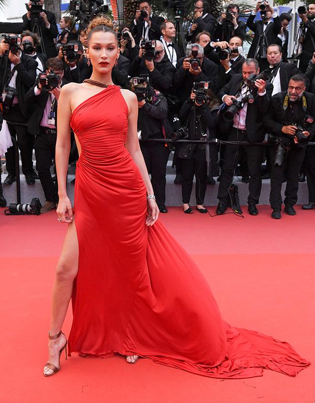 Bella Hadid Plunging Red Slit Dress
