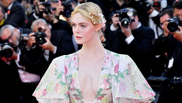 Elle Fanning Plunging Floral Dress
