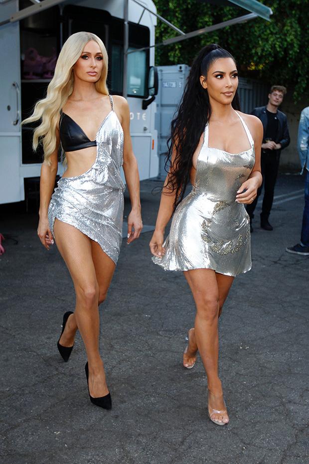 Kim Kardashian Paris Hilton silver dresses