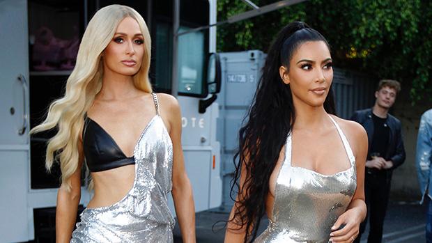 Paris Hilton Kim Kardashian silver dress