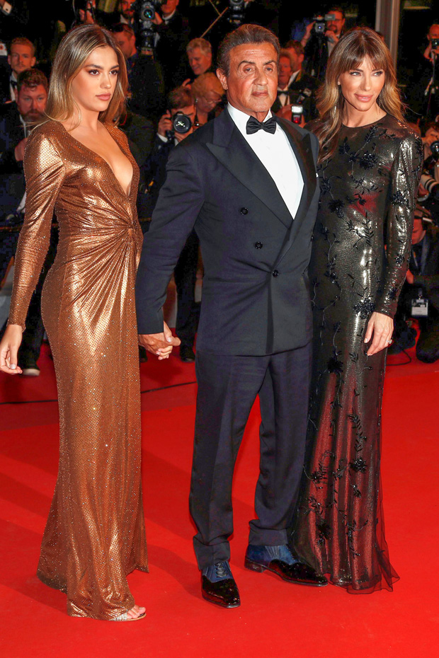 Sylvester Stallone (C) with his wife US model Jennifer Flavin (R) and daughter US actress Sistine Rose Stallone (L) arrive for the screening of 'Rambo V: Last Blood' at the 72nd annual Cannes Film Festival, in Cannes, France, 24 May 2019. The festival runs from 14 to 25 May.Rambo V: Last Blood Premiere - 72nd Cannes Film Festival, France - 24 May 2019