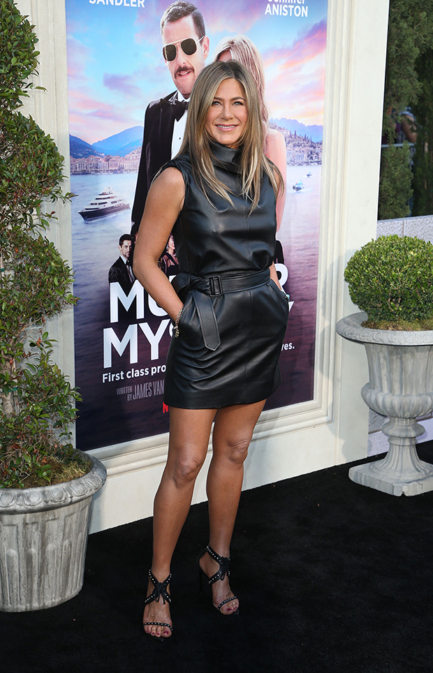Jennifer Aniston Black Leather Dress