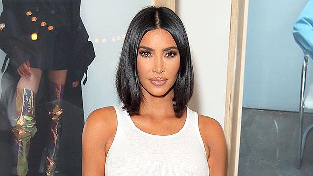 Kim Kardashian Plunging Slit Skirt