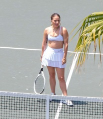 Exclusive All Round - In the UK: Web: £350 set fee 50 pp. Print and other territories call for price Mandatory Credit: Photo by Diggzy/Jesal/Shutterstock (12231860s) Exclusive - Lady Gaga puts on an athletic display while taking tennis lessons on a weekend getaway with Michael Polansky Exclusive - Lady Gaga puts on an athletic display while taking tennis lessons on a weekend getaway with Michael Polansky, USA - 25 Jul 2021