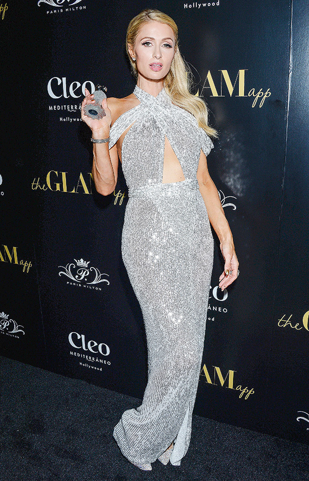 Celebrities Sparkly Silver Dresses
