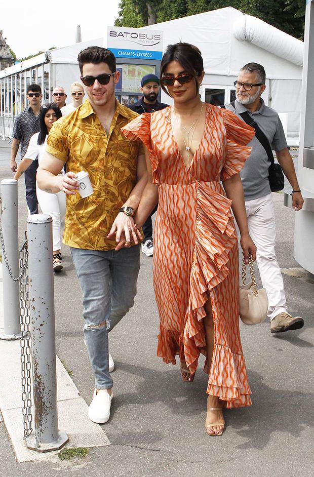 Priyanka Chopra Plunging Orange Dress
