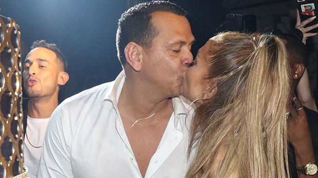 Alex Rodriguez Kisses Jennifer Lopez Birthday Party