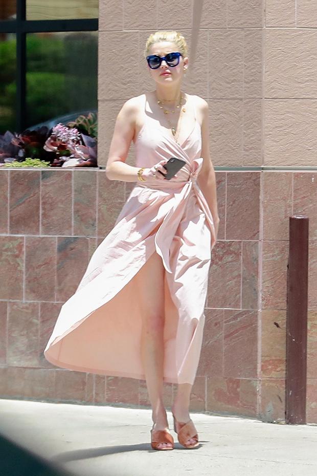 Amber Heard High Slit Dress