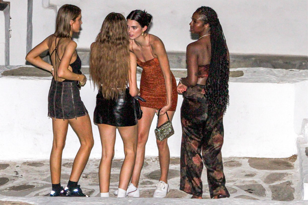 Kendall Jenner seens night out with friends in Mykonos town. They go to a night club. Kendall leaves crying in the night from the club. 11 Jul 2019 Pictured: Kendall Jenner. Photo credit: Savio / MEGA TheMegaAgency.com +1 888 505 6342 (Mega Agency TagID: MEGA463316_002.jpg) [Photo via Mega Agency]