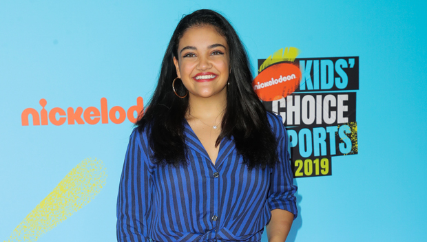 Laurie Hernandez on the red carpet at the 2019 Nick Kids Choice Sports Awards