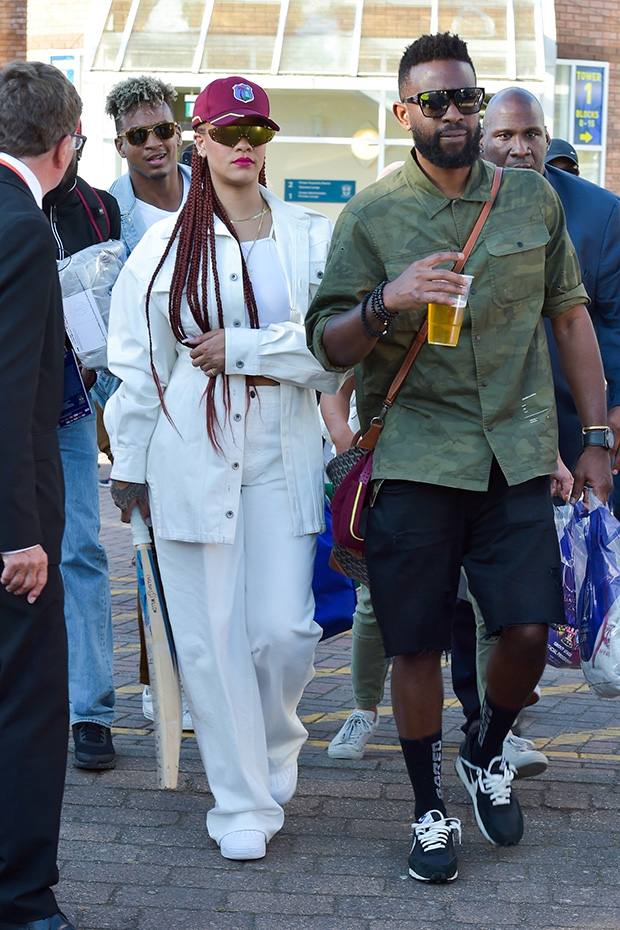 Rihanna White Outfit Cricket