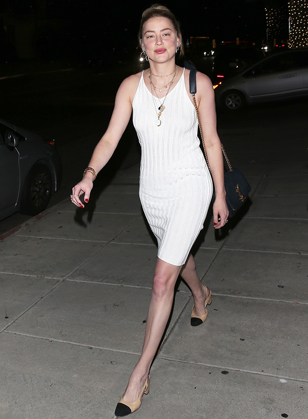 Amber Heard White Mini Dress
