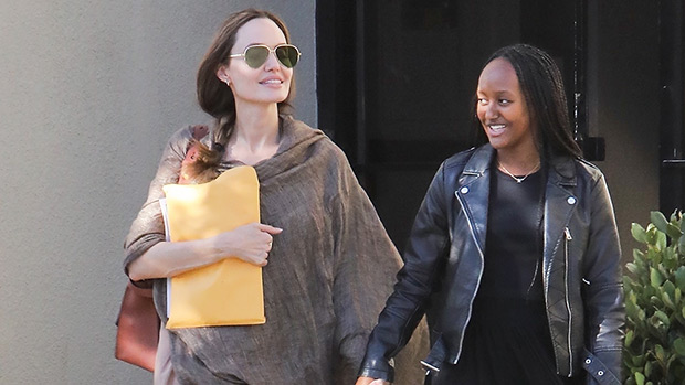 Angelina Jolie Zahara Holding Hands Errands LA Office Pics