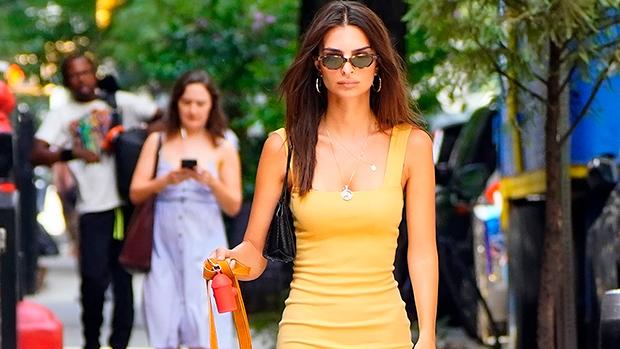 Emily Ratajkowski Yellow Mini Dress