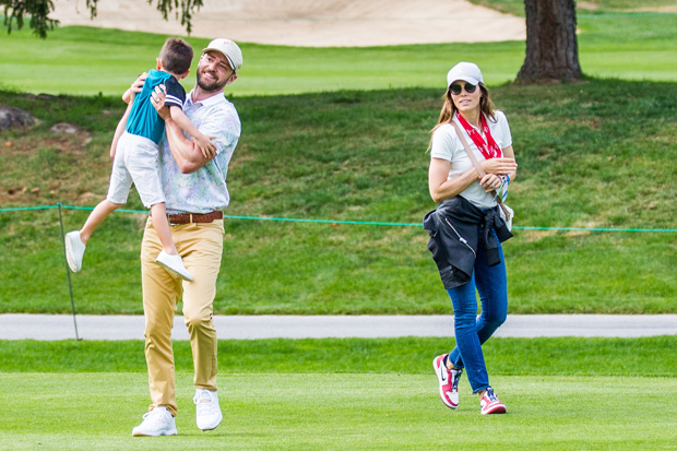 Justin Timberlake, Jessica Biel & son Silas at the Omega European Masters