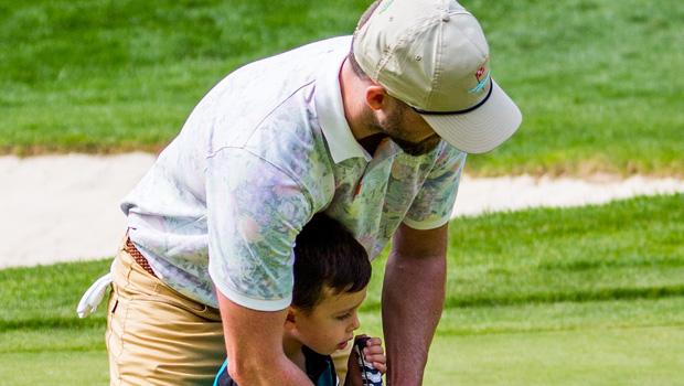 Justin Timberlake & son Silas at the Omega European Masters