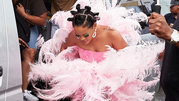 rihanna pink feathers