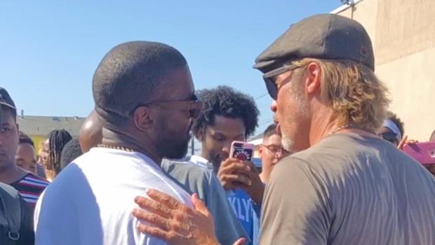 Brad Pitt & Kanye West at Sunday service