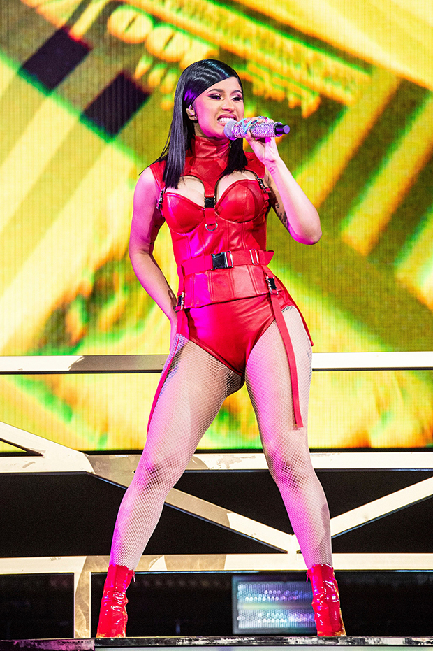 Cardi B in red leather
