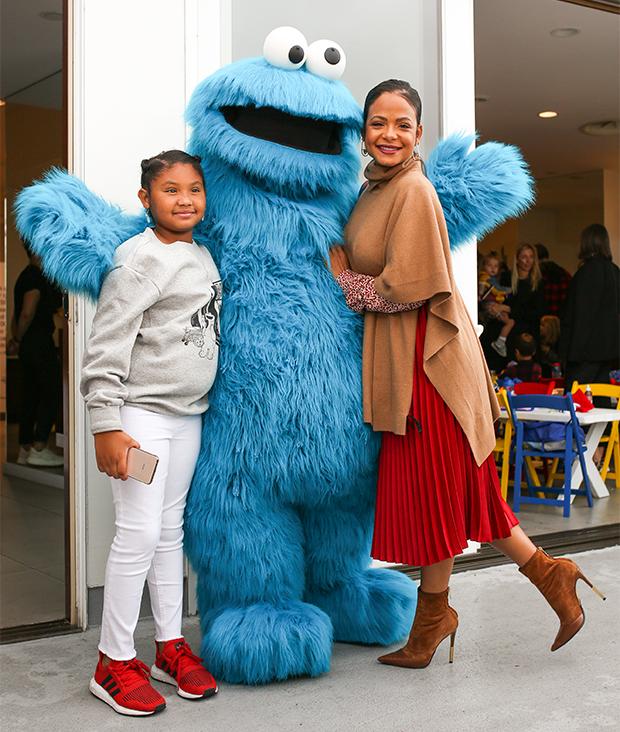Christina Milian & daughter Violet at H&M x Sesame Street event