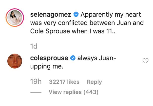 Selena Gomez, Cole Sprouse Instagram comments
