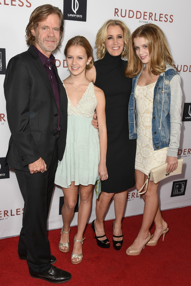 William H. Macy and Felicity Huffman with daughters Sophia Grace and Georgia Grace Macy'Rudderless' film premiere, Los Angeles, America - 07 Oct 2014