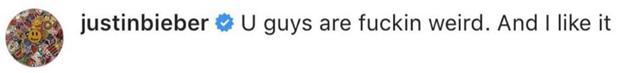 Justin Bieber instagram comment