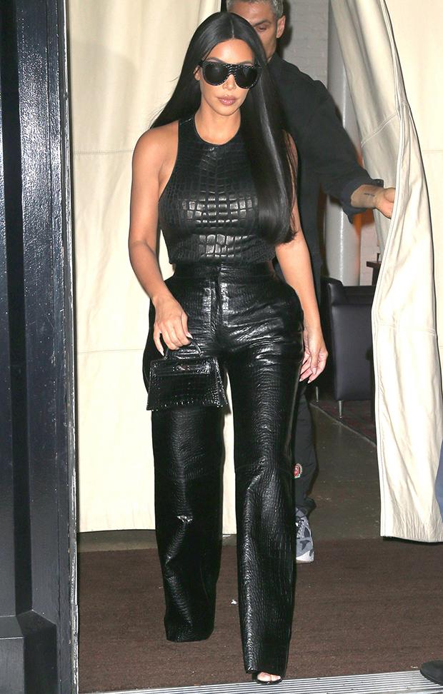 Kim Kardashian wearing leather