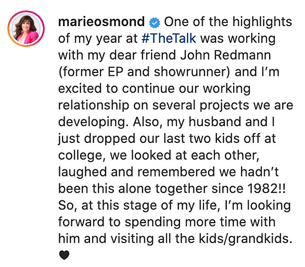 Marie Osmond leaves 'The Talk'