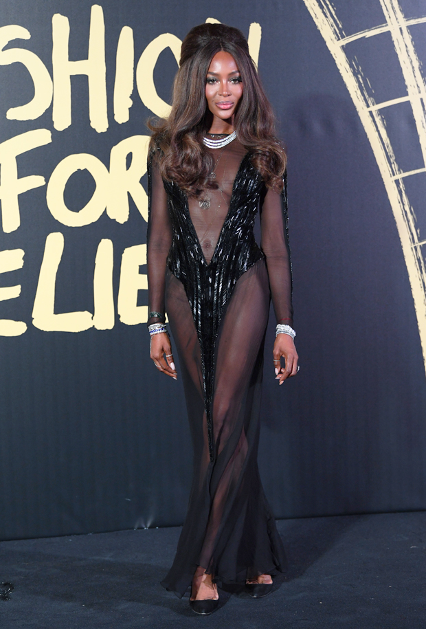 Naomi Campbell in sheer gown London Fashion Week