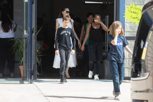 Angelina Jolie shopping with her kids