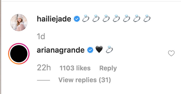 ariana grand hailie mathers instagram comment