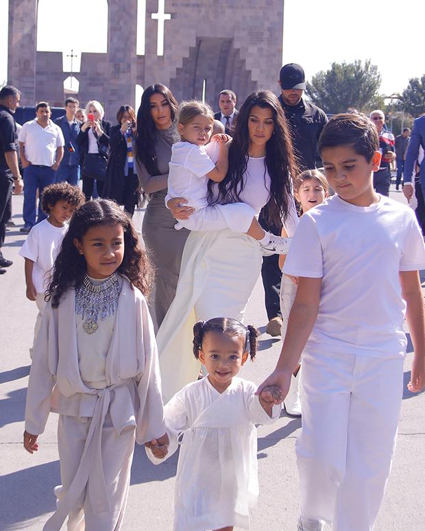 kourtney kardashian walking with kids in armenia