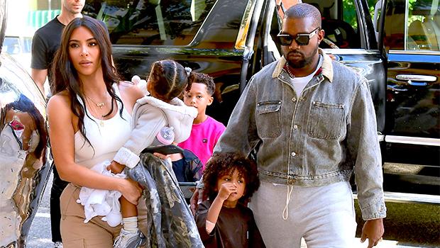 Kim Kardashian & Kanye West out with their kids